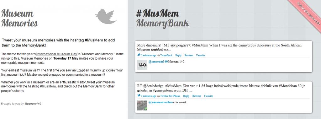 Capture d'écran du site memories.museum140.com