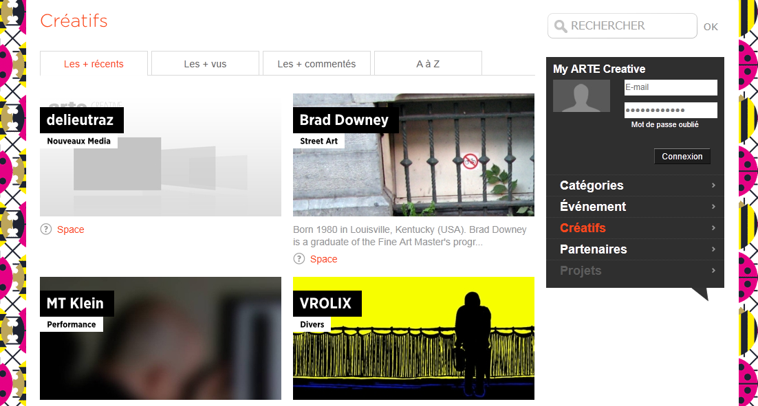 Capture d'écran du portail Arte Creative