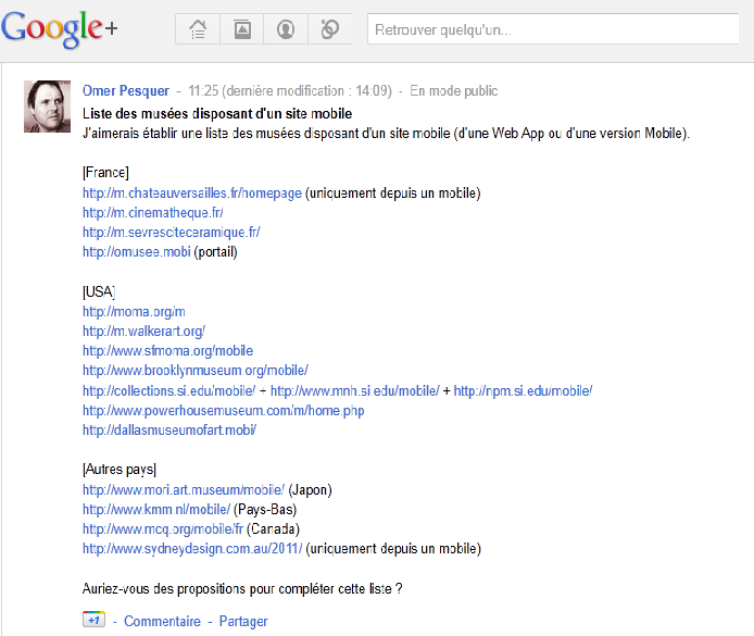 Capture d'écran de la liste des musées français disposant d'un site mobile